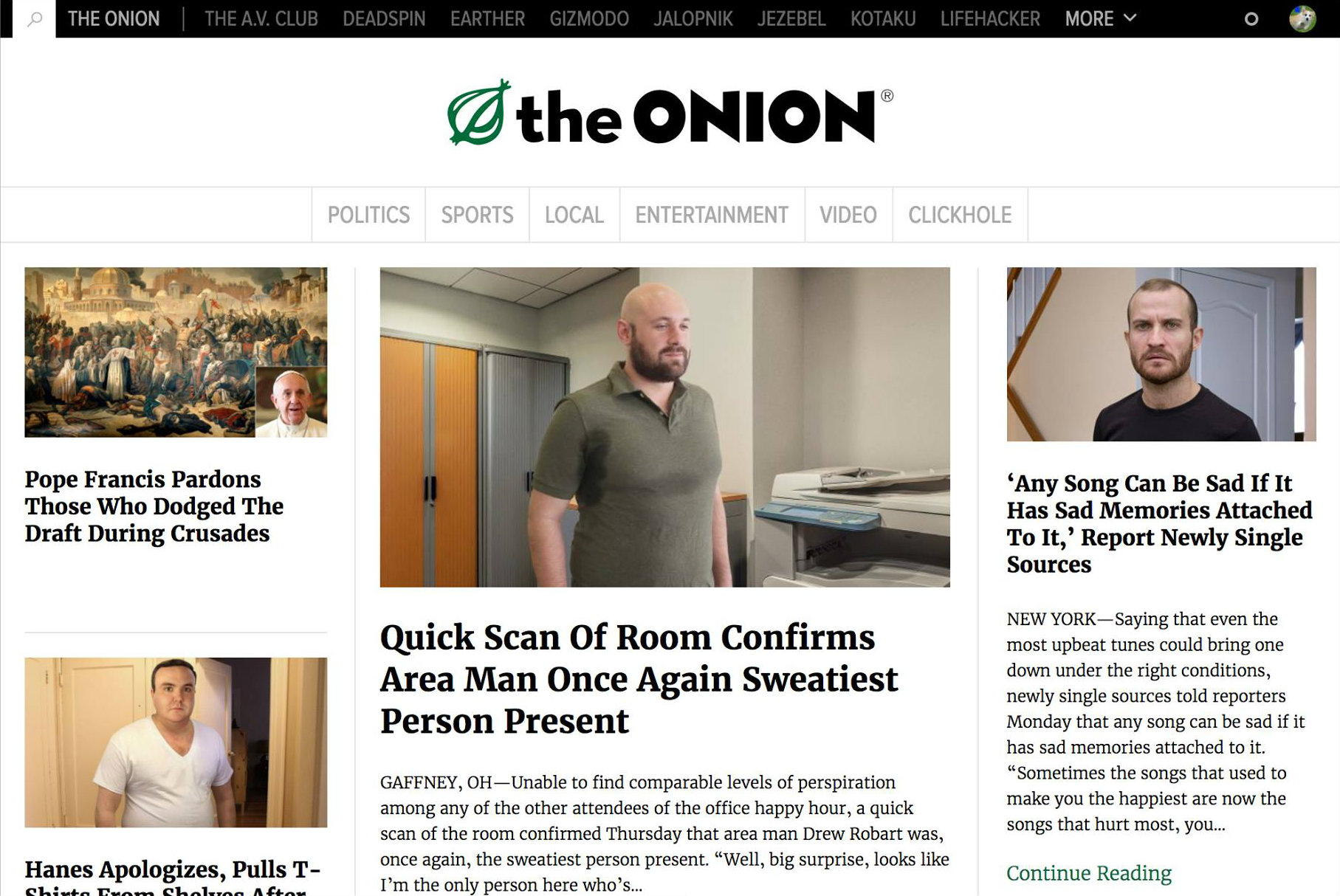 The Onion homepage with an article about a sweaty office worker.