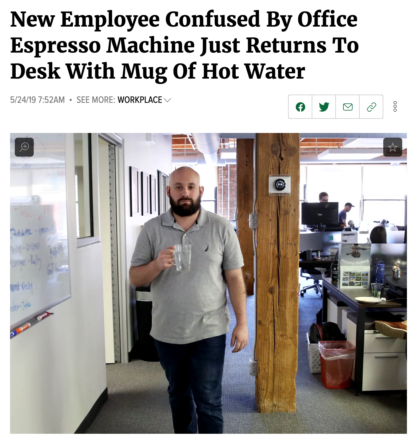 An article about a man confused by an expresso machine.