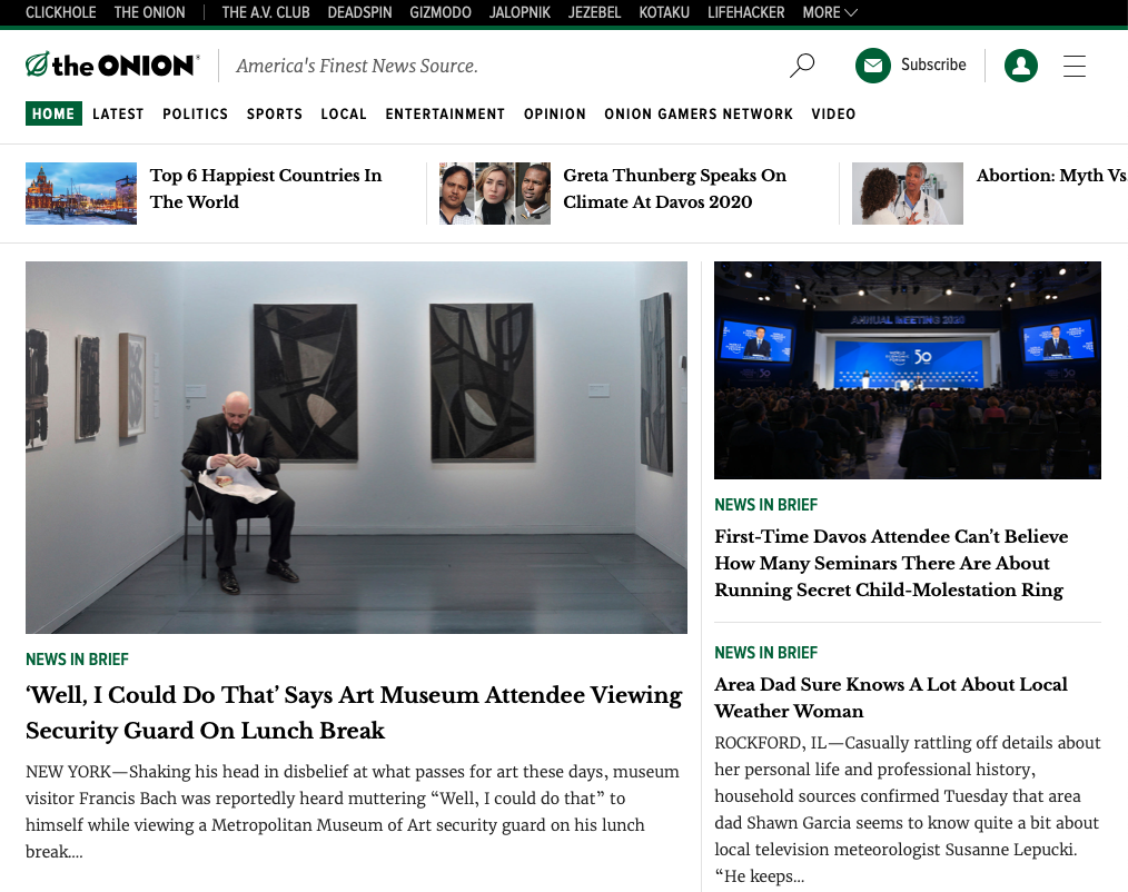 The Onion homepage with an article about a museum guard eating a sandwich.